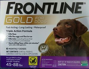 6 pack of frontline gold for dogs 45-88 lbs