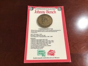 """Johnny Bench Commemorative Coin 1989 """"Cooperstown"""" Kahn's Hillshire  Mint Sealed"""