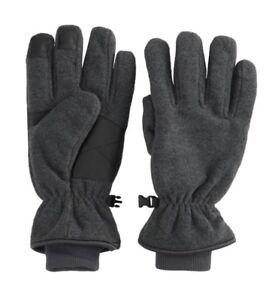 New Men's Tek Gear Microfleece Tech Touch Waterproof Cuffed Gloves - Gray Color