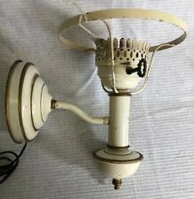 Vintage White Gold Tole Painted Metal Wall Sconce Lamp Light No Shade