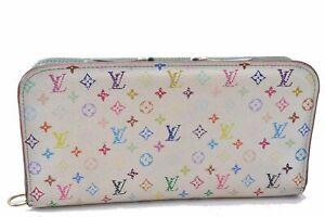Auth Louis Vuitton Monogram Multicolor Portefeuille Insolite Wallet White D2586