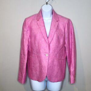 J. Crew Pink Linen Campbell Blazer 12 Petite One Button Work Career Office
