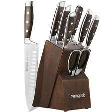 8 Piec Stainless Steel Kitchen Home Knife Set Sharpener Cutlery with Oak Wooden