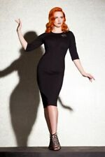 Rebel Love Vintage Style Ponte Knit Black Super Fly Pencil Dress - Size S