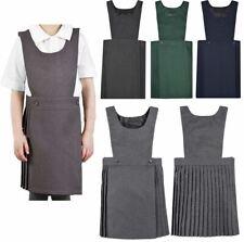 Girls Kids Pleated Pinafore Dress School Uniform Black Grey Navy Green All Sizes