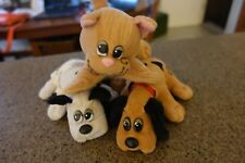 3 Vintage Small Plush Pound Puppies & Cat