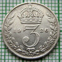 GREAT BRITAIN GEORGE V 1926 THREEPENCE 3 PENCE, SILVER SCARCER DATE