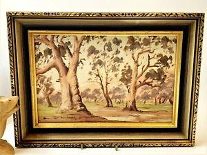 Gilt Framed Original Oil Painting on Board - River Red Gums  38 x 28cm, Signed