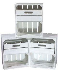 3 Schöne und stabile weiße Holzkiste mit Schublade /50x40x30cm / quer