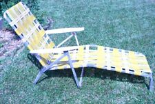 Vtg Aluminum Webbed Folding Chaise Lounge Chair Adjustable Back and Leg Rest