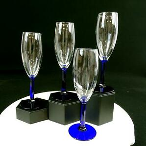 """LIBBEY ROCK SHARPE CLEAR AND COBALT PANELED STEM 4 PIECE 8"""" CHAMPAGNE FLUTES"""