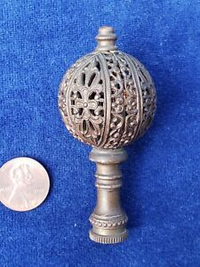 Antique Filigree Metal Unpolished Brass Dollhouse Miniature Lamp