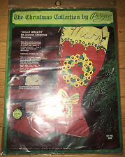 Vintage Sealed Paragon Christmas Holly Wreath Be-Jeweled Stocking 6222
