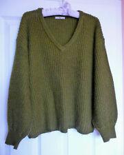 Green Jumper Chunky Knit Wool V Neck - Size 10