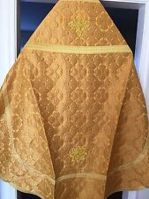 Eastern Orthodox Priest Vestment Size M-L GOLD BROCADE METALLIC  Ready to Ship