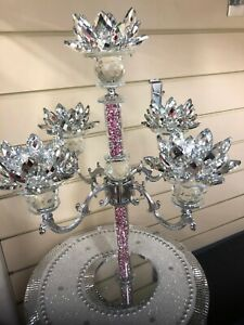Crushed Diamond 5 Candle Holder Faceted Balls Sparkly Pink Silver Crush Crystal