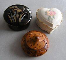 THREE TRINKET BOXES: HEART IS MUSIC BOX PORCELAIN, BLACK W/ GOLD TRIM, & WOOD