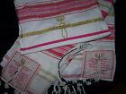 Pink & Gold Messianic Jewish Tallit Talit Prayer Shawl & Talis Bag - NEW