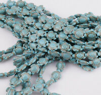 16'' A Strand Howlite Turquoise Carved Turtle Spacer Beads 14mm x 17mm Sd