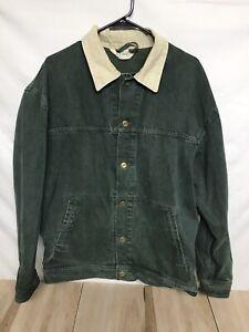 LL Bean Vintage Green Canvas Jacket Men Large