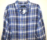 Polo Ralph Lauren Mens Blue Plaid 100% Linen Button-Front Shirt NWT Size XL