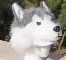 SIBERIAN HUSKY HAT plush ADULT huskies Halloween Costume mens womens CAP humans