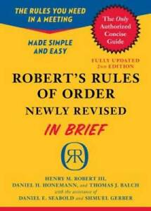 Robert's Rules of Order Newly Revised In Brief, 2nd edition (Roberts Rule - GOOD