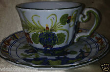 GAROFANO FAENZA ITALY CUP & SAUCER 8 OZ BLUE CARNATION RED & BLUE FLORAL
