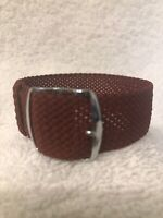 20mm Perlon Mesh Military Vintage Watch Band Silver Buckle Burgundy, M0NI-M000