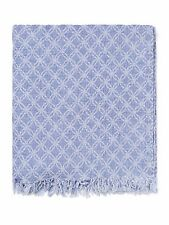 Sferra Sorrio Blue Throw Blanket Fringed Gauzey 100% Linen Geometric Modern NEW