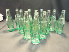 12 Coca-Cola Vintage Green 6 Ounce Soda Pop Bottles Exc *See List of Cities