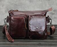 Men Genuine Leather Oil Wax  Cowhide Cross Body Messenger Shoulder Business Bag