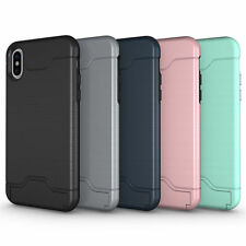 Iphone X 10 Samsung Galaxy S8 S9 Plus Kickstand Card Pocket Armor Hybrid Case