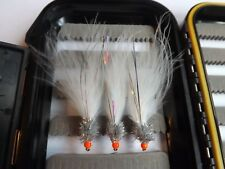 3X NEW HOT HEAD SILVER & WHITE  CATS WHISKER FLY FISHING FLIES TROUT SIZE 10