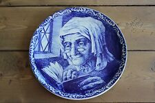 """BOCH La Sourere DELFT BLUE CHARGER PLATE OLD WOMAN 10"""" WALL Plate"""