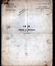 """Concessionnaire AUTOMOBILE CITROEN DS 19 """"NOTE TECHNIQUE N°752"""" CIRCUIT FREINAGE"""