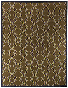 Contemporary Aztec Design Beige and Brown Hand Knotted Rug N10532