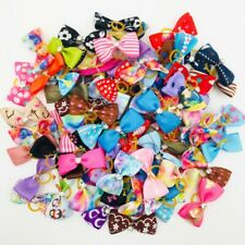 500x Bulk Small Dog Hair Bows Rubber Band For Pet Puppy Holiday Topknot Grooming