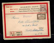 1921 Budapest Hungary Registered Cover to USA Kemeny Jeno Label
