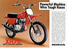 1976 HONDA XR75 K4 MOTOSPORT 2 page Motorcycle Brochure NOS