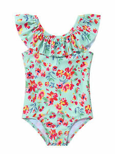 Infant Babies Girls Swimming Suit U Neck Ruffled Wide Shoulder Strap Bodysuits