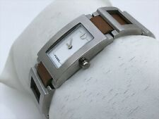 Fossil Women Watch Silver Tone Metal Brown Genuine Leather Band Water Resistant