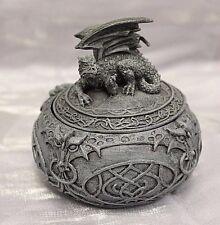 Laying Dragon Statue Celtic Trinket & Jewelry Box Gothic Fantasy