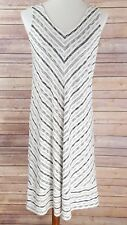 J Jill Wearever Collection Striped Midi Dress V Neck Sleeveless Stretch Beach S