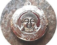 "BUDDHA FACE PHOTO LOCKET SILVER PLATED on Sterling 18"" Chain Necklace, spiritual"