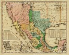 "1840s ""United States of Mexico� Vintage Style Southest Wall Map - 24x30"