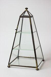 Vintage Brass Glass 3 Shelf Curio Display Cabinet