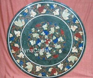 24 Inches Marble Patio Table Leaf Pattern Coffee Table Top from Cottage Art