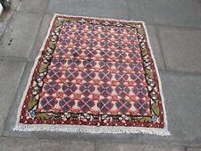 Vintage Traditional Hand Made Oriental Brown Blue Wool Kilim Rug 110x100cm