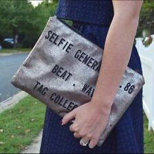 ZARA BLOGGERS GOLD CLUTCH HAND BAG EVENING BAG SIZE MEDIUM